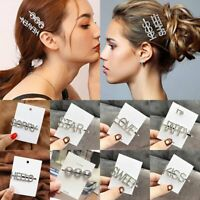 Women Crystal Rhinestone Letter Smile Hair Clip Barrette Stick Hairpin Hair Gift