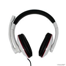 Blanc Casque Gaming casque avec microphone pour ordinateur PC portable de 3,5 mm