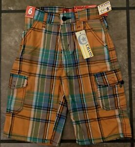 Chams NWT Boys SZ 6 Orange Green Blue Plaid Long Cargo Shorts Easter