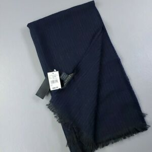 Famous Designer Brand Mens 100% Wool Knit Scarf Navy Gray Made in Italy