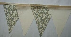 Vintage Floral & Ivory Fabric Bunting Shabby Chic Wedding Decoration 4mt or more