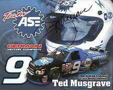 "SIGNED 2006 TED MUSGRAVE ""TEAM ASE GERMAN MOTOR COM"" #9 NASCAR TRUCK POSTCARD"