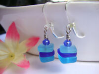 Stacked Cobalt Caribbean Blue Sea Glass Square .925 STERLING SILVER Earrings