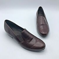 Munro American M206141 Women Brown Leather Slip On Loafer Shoe Size 9 Pre Owned