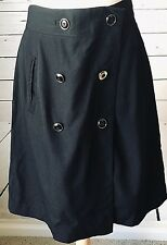 Banana Republic size 6 wrap skirt black 100% wool lined gold military buttons