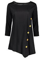 M size Women's T-Shirt Irregular Button Embellished Long Sleeve Tee Shirt Tops