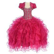 Calla Collection Little Girls Fuchsia Crystal Sequin Pageant Bolero Dress 5