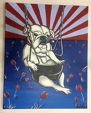 PBR Pabst Blue Ribbon Beer Original Art Painting Canvas Bull Dog w Cigar Artwork
