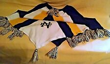 """NOTRE DAME SWEATER SHAWL PONCHO BLUE YELLOW WHITE USED TASSELS PULLOVER 7"""" NECK*"""