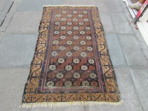 Antique Worn Hand Made Traditional Oriental Wool Brown Rug 180x106m