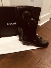 Chanel rain boots two pairs available size 39 and 40 black with Camilla flowers