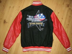 Varsity Jacket All Star Cheer Dance National Championship Red Leather Black Lead