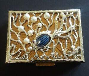 Vintage Evans Elegance Rhinestone Pearl Fish Compact Unused