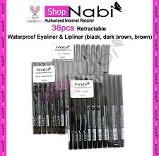36pcs Retractable Waterproof Eyeliner & Lipliner (black, dark brown, brown)