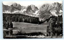 Kitzbuhel Schwarzsee mit Kaisergebirge Tirol Ski Austria Vintage Postcard C98