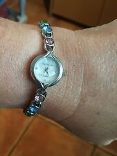 Time Collection Stainless Steel Ladies Multi Coloured Crystal Watch