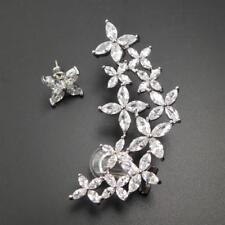 Sterling Silver Post CZ Asymmetrical Flower Earrings Ear Cuff Crawler Climber