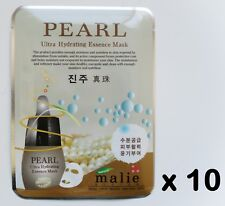 10pcs Korea Beauty Cosmetic [Malie]PEARL Essence Face Mask Pack Sheet 0.88oz 25g