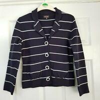 Phase Eight Navy & White Stripe Knitted Jacket 100% Cotton Cardigan Size 8