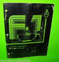 F1 By ATARI 1977 ORIGINAL VIDEO ARCADE GAME OPERATION SERVICE & PARTS MANUAL