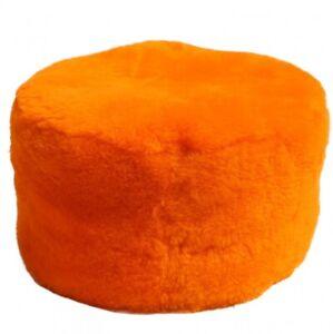 Lambskin Pouf/Sitting Stool Orange Fur Side Table Stool Merino Sheepskin