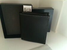 NEW! KENNETH COLE BLACK GENUINE LEATHER SLIM SQUARE PASSCASE WALLET $40 SALE