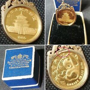 1/10 Oz Gold Panda Coin 999 Fine Gold 1985 - Hallmarked 9ct Pendant Mount