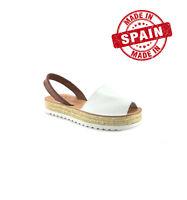 Avarcas Menorca Sandales Cuir Blanc Plateforme Chanvre Femme Menorca Espagne
