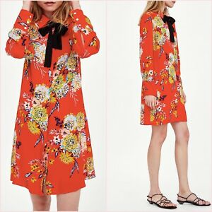 SALE Orange Oriental Floral Bow Long Sleeve Dress Size XS 6 8 UK 2 4 US Blogger❤
