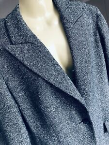 M&S Wool Silk  Mix Tweed Style Jacket Size 16