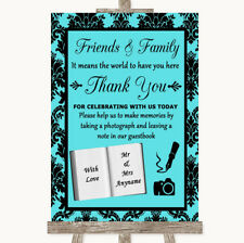 Wedding Sign Poster Print Blue Damask Photo Guestbook Friends & Family