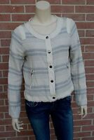 Women's Jacks Ivory  Gray Blazer Jacket Stripes w/ Faux Leather Details Size M