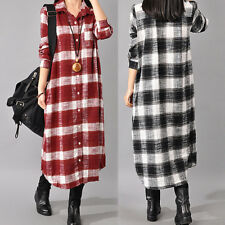 ZANZEA Retro Damen Plaid Kariert Buttons Langarm Long Shirt Dress Casual Kleid