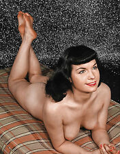 1960s Topless Pinup Bettie Page lying on elbows  8 x 10 Photograph