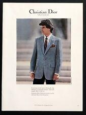 1982 Vintage Print Ad CHRISTIAN DIOR Men's Fashion Suit 80's Style Tie Image