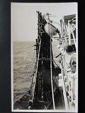 Inter war H.M.S. CHRYSANTHEMUM Alongside a Gunnery Target - Old Royal Navy RP PC