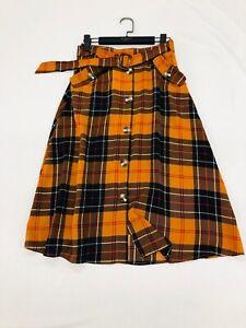 Mid Century Vintage Orange Tartan Plaid Check Flared Midi Skirt w. Pockets BNWT