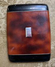 Vintage EVANS Faux Tortoise Shell & Black Celluloid Hinged Cigarette Case/Holder