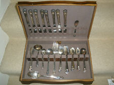 Vtg 62 pc Eternally Yours Silverplate 1847 Rogers Bros Flatware Set w/Box Pieces
