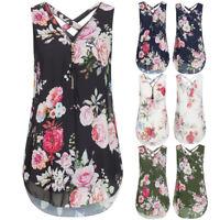 Women Loose Chiffon Sleeveless Tank V-Neck Zipper Hem Scoop T Shirts Tops Blouse