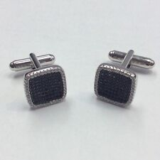 REAL STERLING SILVER Men's Micro Pave Square Shape Black/White CZ CUFFLINKS 8.5g