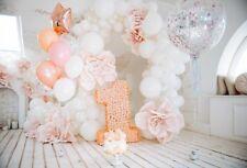 Happy Birthday 1st Photography Background White Balloon Wood Floors Backdrop