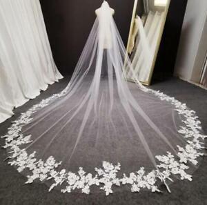 Ivory Tulle Wedding Veil Weddings Accessories Lace Cathedral Veil,Long Wedding Veil,Pearls Lace Veil\uff0cBoho Wedding Veil