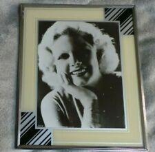 1930's Vintage Art Deco Reverse Painted Picture Frame 10x12 Cream Black Silver