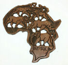 """Africa African Wood Wooden Wall Hanging Plaque Shaped Continent Vintage 12"""" x 13"""