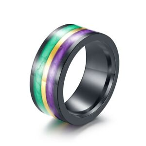 10MM Band Titanium Steel Two Color Enamel Wedding Engagement Party Ring Size7-11