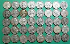 1- FULL MIXED ROLL OF 40 WASHINGTON SILVER QUARTERS. $10.00 FACE VALUE. #13