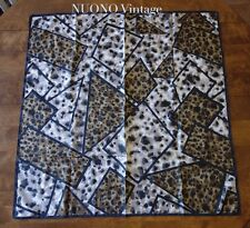 "leopard print scarf 31"" x 32"" square brown grey designer pattern polyester"