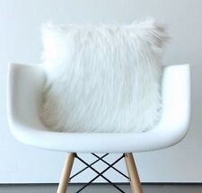 "Scandinavian White Fur pillow cover 12""X12"" Square white fur suede pillow cover"