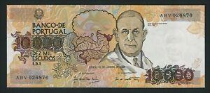 PORTUGAL RARE 10.000 10000 ESCUDOS 1989 P-185a  GEM UNC